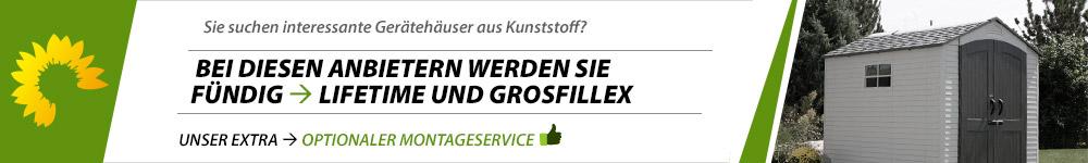 Banner Gartenhaus Kunststoff