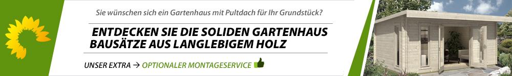 Banner Gartenhaus Pultdach